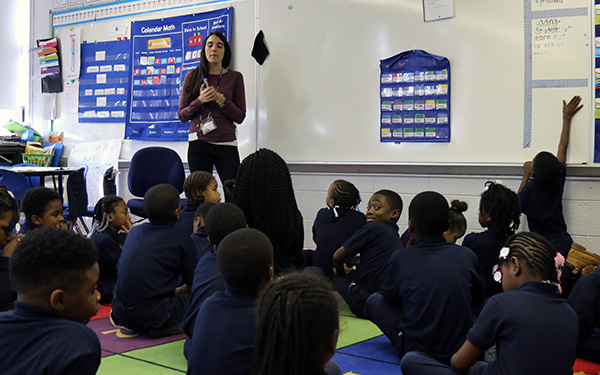 ... at John Wister Elementary School, gives her second-grade class a math  lesson. The school was taken over this school year by Mastery Charter  Schools.