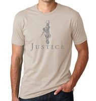 - American Czar - This original design features a wonderful rendering of Lady Justice holding her scales up high as she floats above the word Justice.