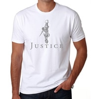 Lady Justice - American Czar - This original design features a wonderful rendering of Lady Justice holding her scales up high as she floats above the word Justice. <h5>Lady Justice</h5>