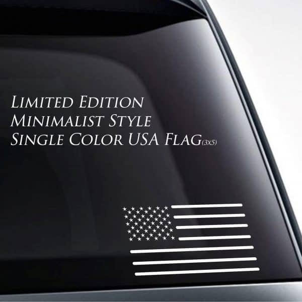 - American Czar - Minimalist Style Single Color USA Flag Vinyl Sticker / Decal ( 3x5)