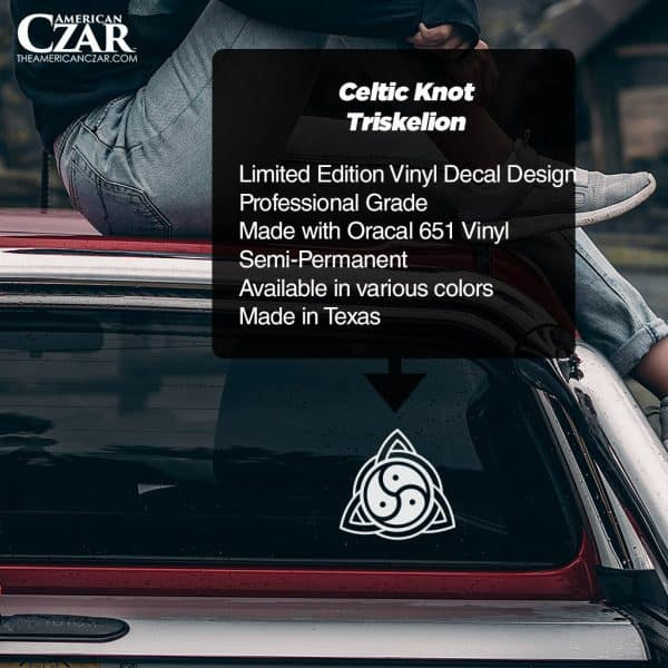 Celtic Knot - American Czar - Limited Run Celtic Knot Triskelion Vinyl Decal.  This modern Celtic Knot with integrated Triskelion design is made up of a series of overlapping or interwoven knots enveloping a triple spiral exhibiting rotational symmetry.