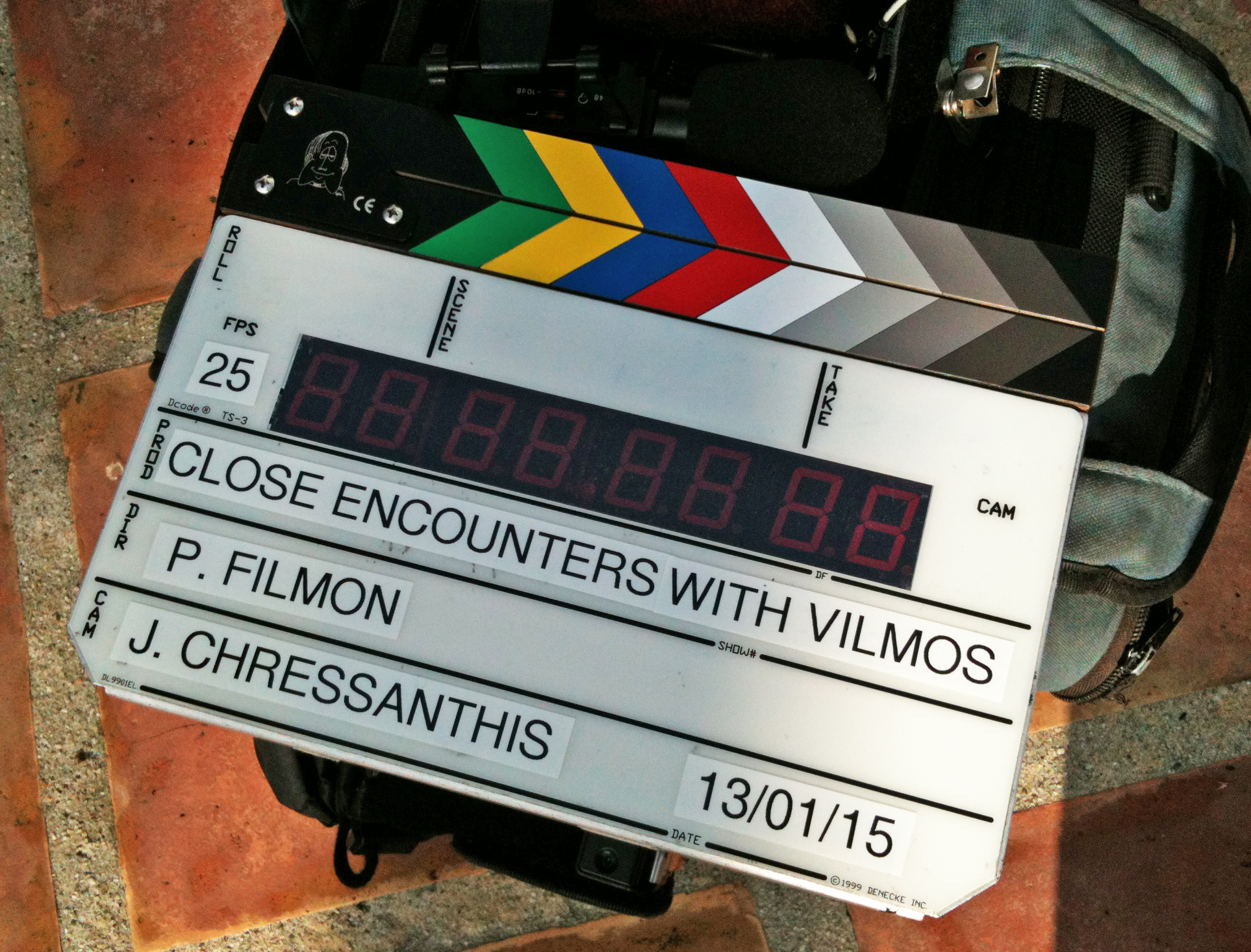 The slate at subject Peter Fonda's home, marking the first day of shooting in the U.S. Photo by the filmmaker