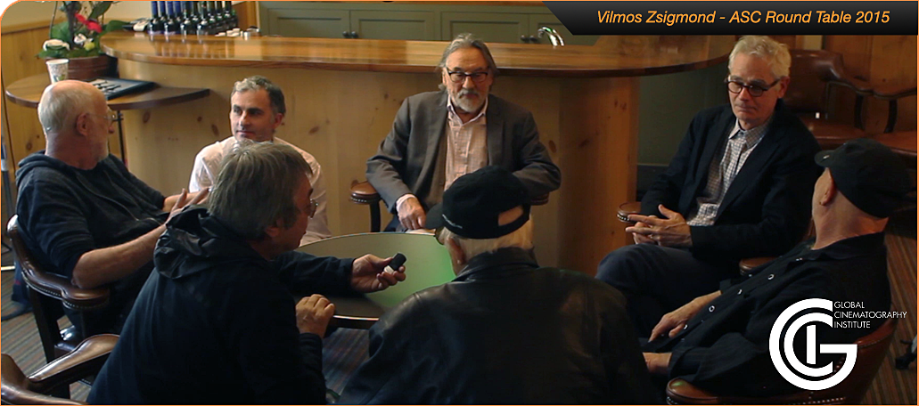 Shooting Vilmos (center) at the ASC Clubhouse in discussion with ASC members Stephen Goldblatt, Caleb Deschanel, Haskell Wexler, Yuri Nejman and Fred Goodich. Photo by Zoltan Honti, courtesy of Yuri Neiman.