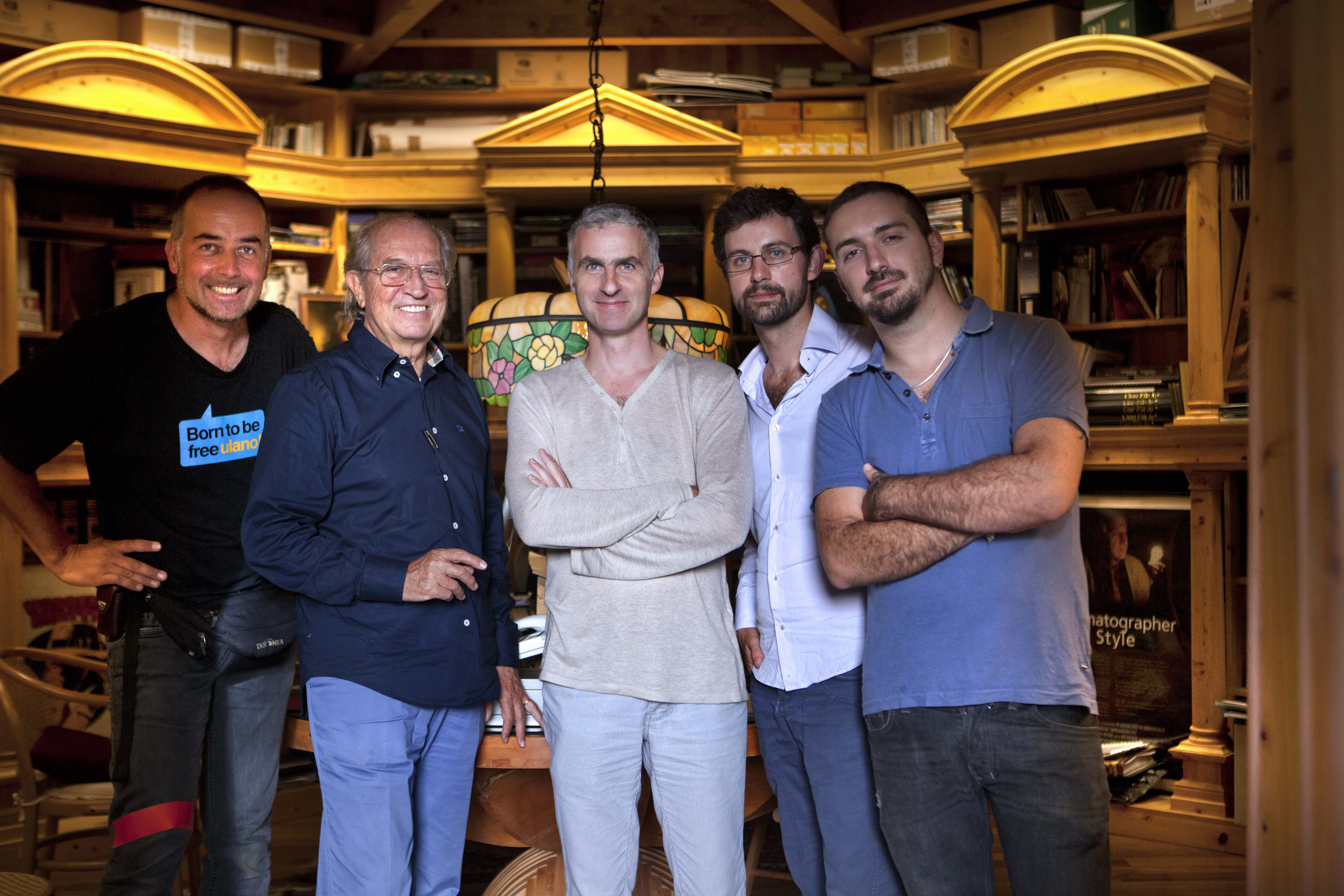 Filmon (center) with his second Italian crew — including Luca Cousin, AIC (on far left) — and subject Vittorio Storaro, ASC, AIC (second from left). Photo by Marta Cavicchioni