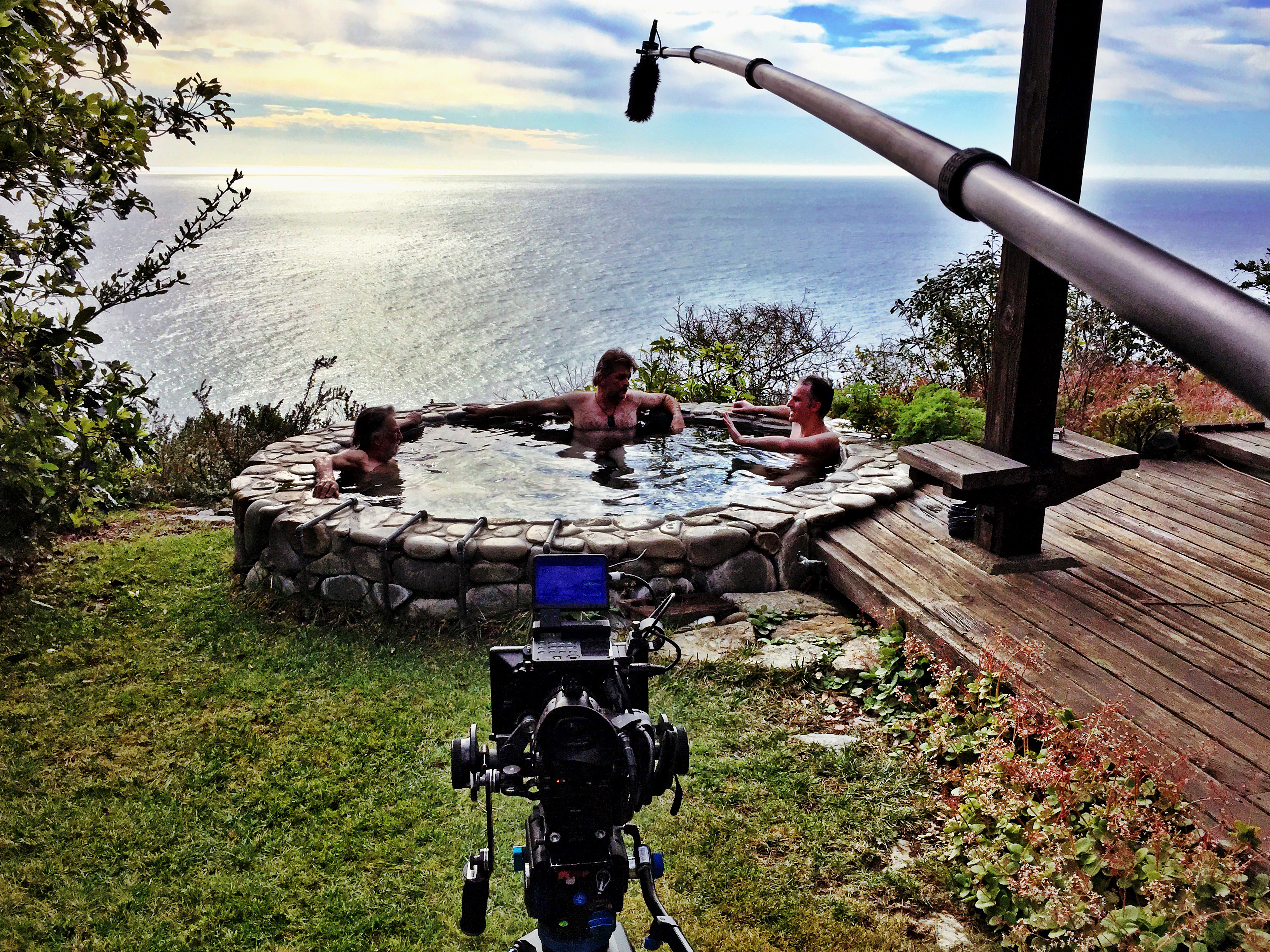 Interview session in the hot tub with Vilmos and James Chressanthis, ASC. Photo Tad Chamberlain