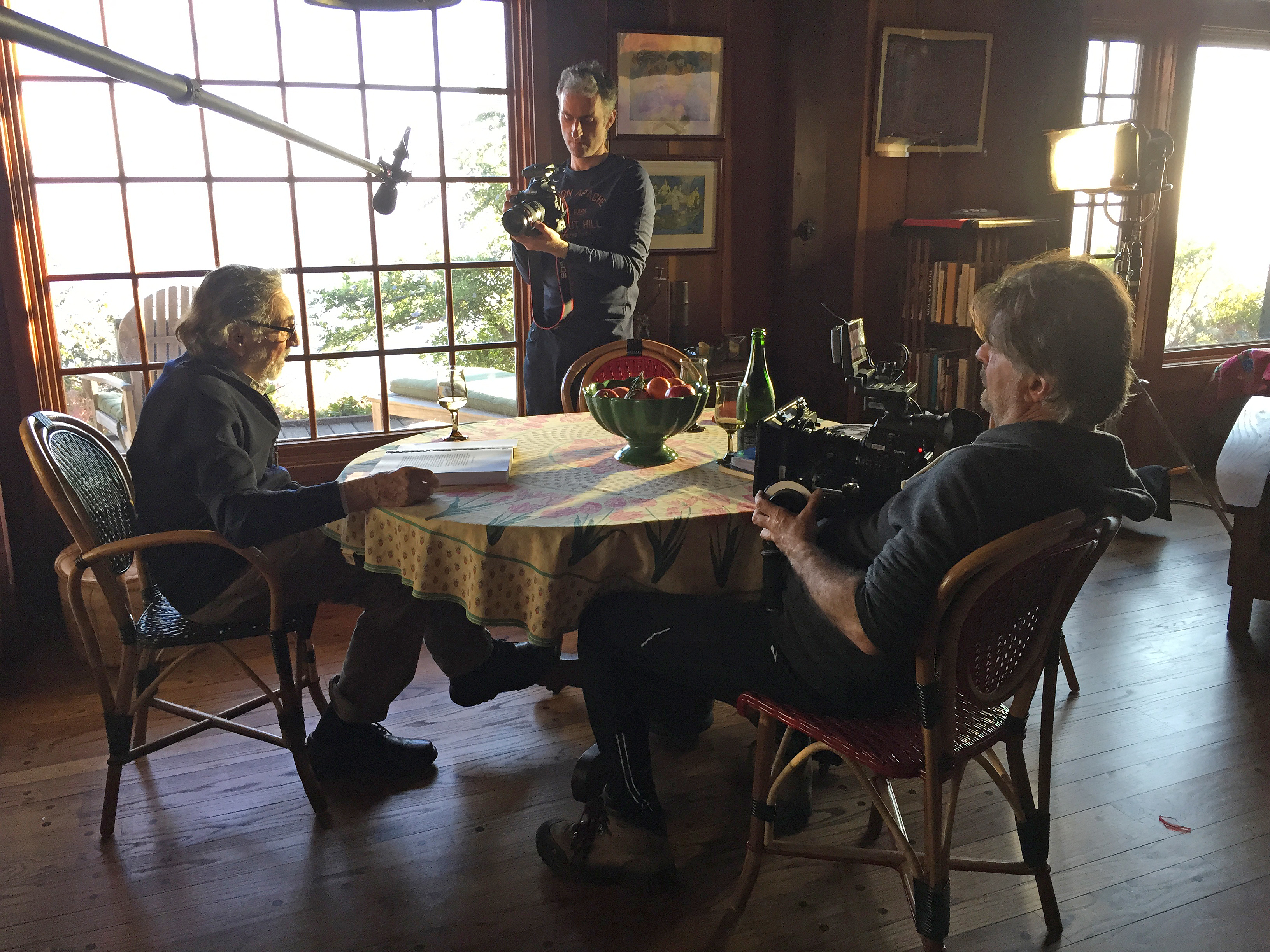 Shooting at Vilmos' home in Big Sur, with James Chressanthis, ASC (right). Photo Tad Chamberlain.