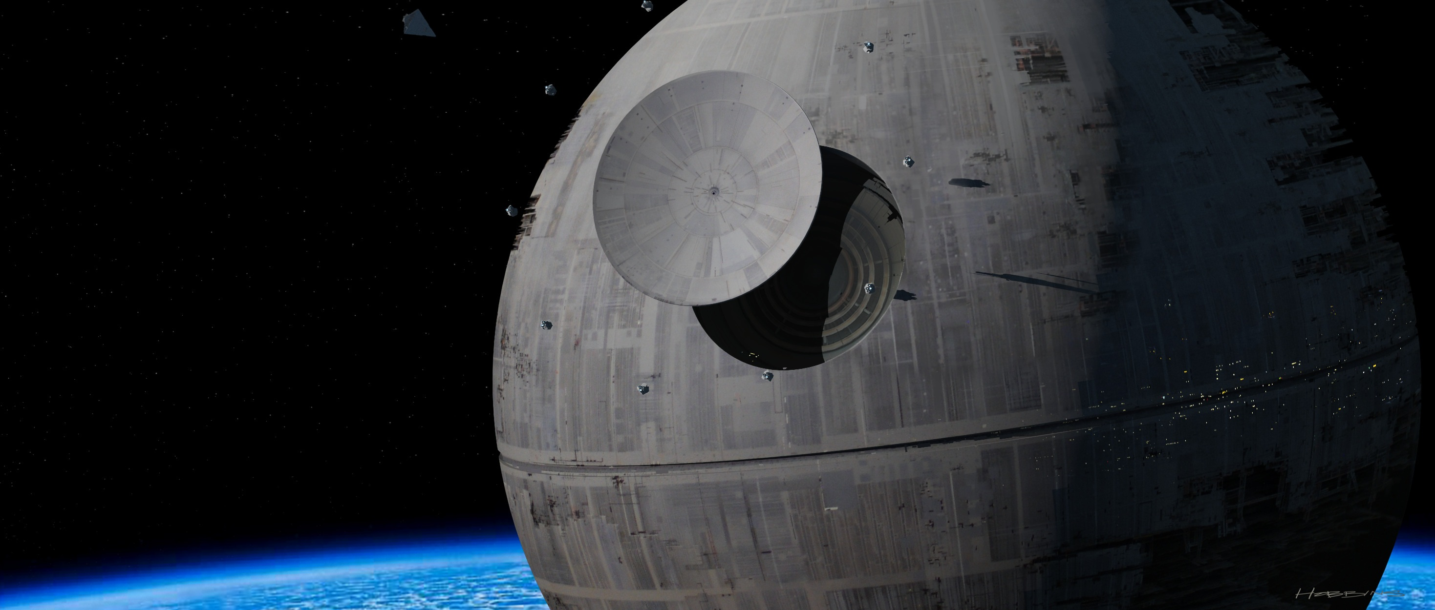 Concept artist David Hobbins depicts the Death Star's superlaser focus lens being maneuvered into position.