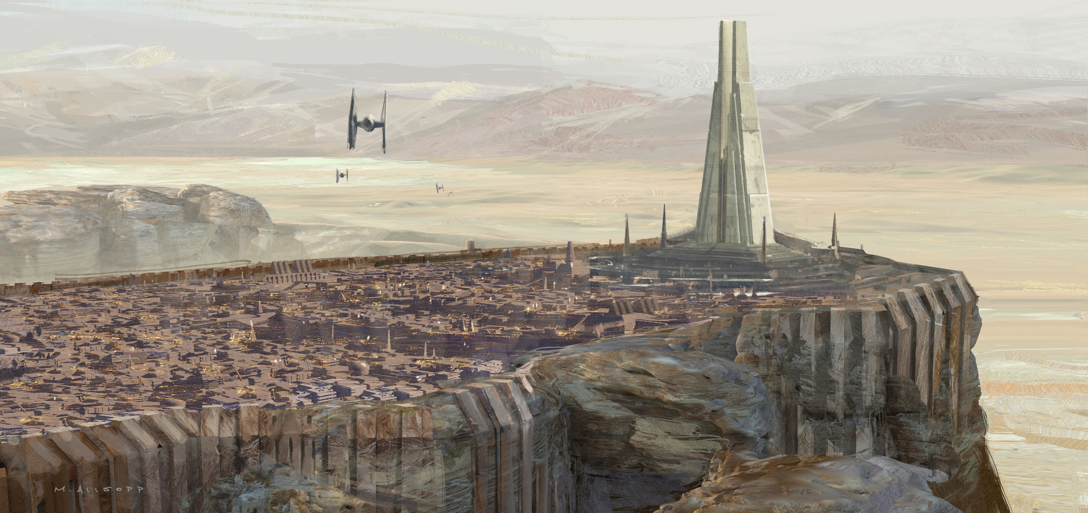 "Lead concept artist Matt Allsopp's painting ""Jedha Temple Version 5B."""