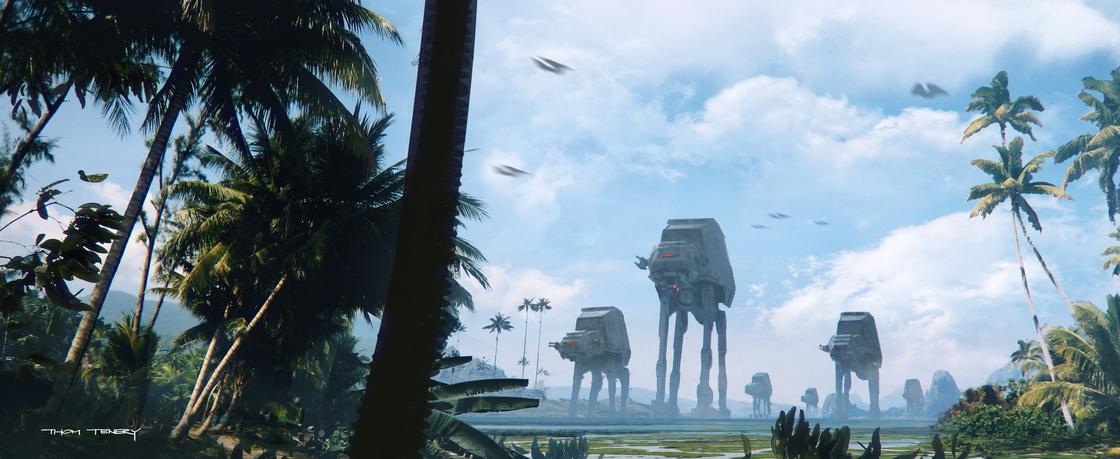 "Concept artist Thom Tenery's painting ""Scarif Exterior Version 1A."""