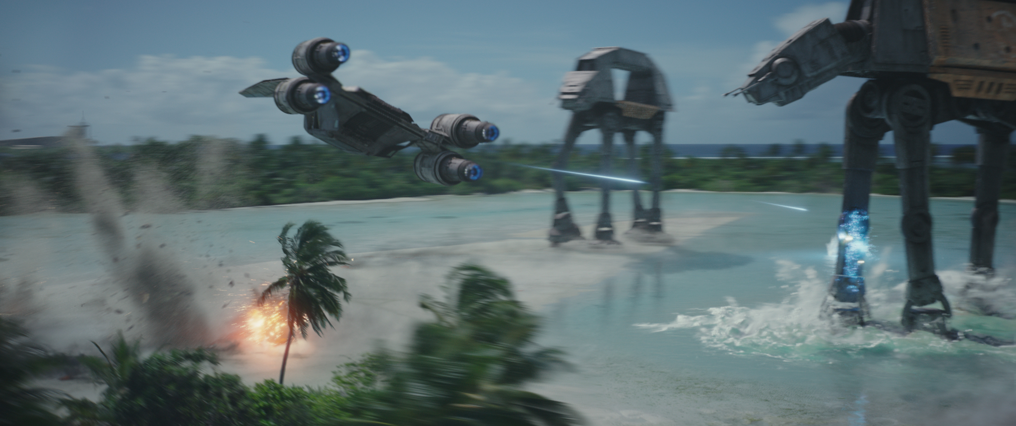 A Rebel U-wing engages two Imperial AT-ACT walkers in this final visual-effects frame.