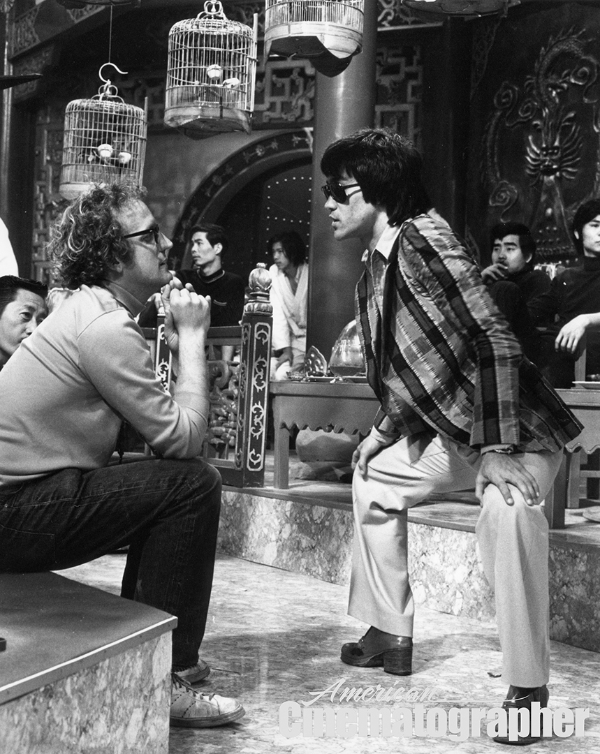 Hubbs and Lee confer while plotting out the coverage for the dramatic banquet scene, which was one of the film's biggest lighting challenges — primarily due to the studio's shortage of gear.