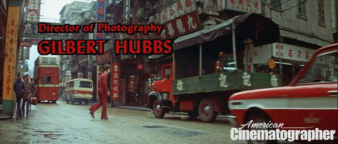 The cinematographer's credit, with actor Jim Kelly walking through a Hong Kong street.