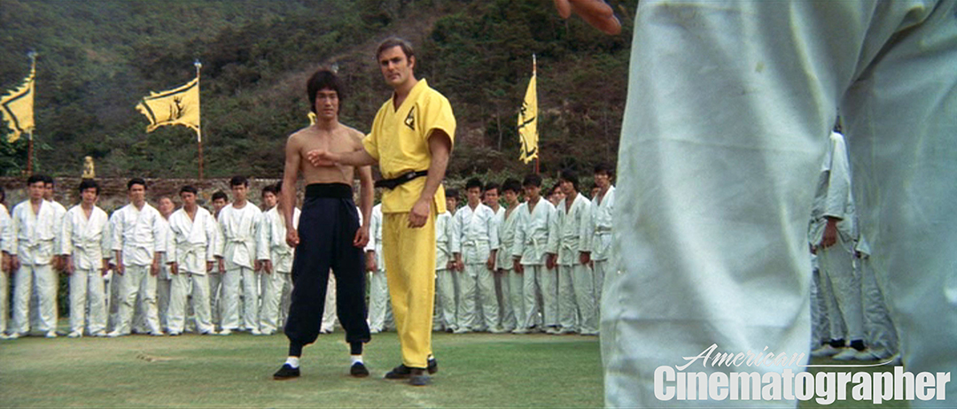 Lee and Roper (John Saxon) compete in the tournament. (Frame capture.)