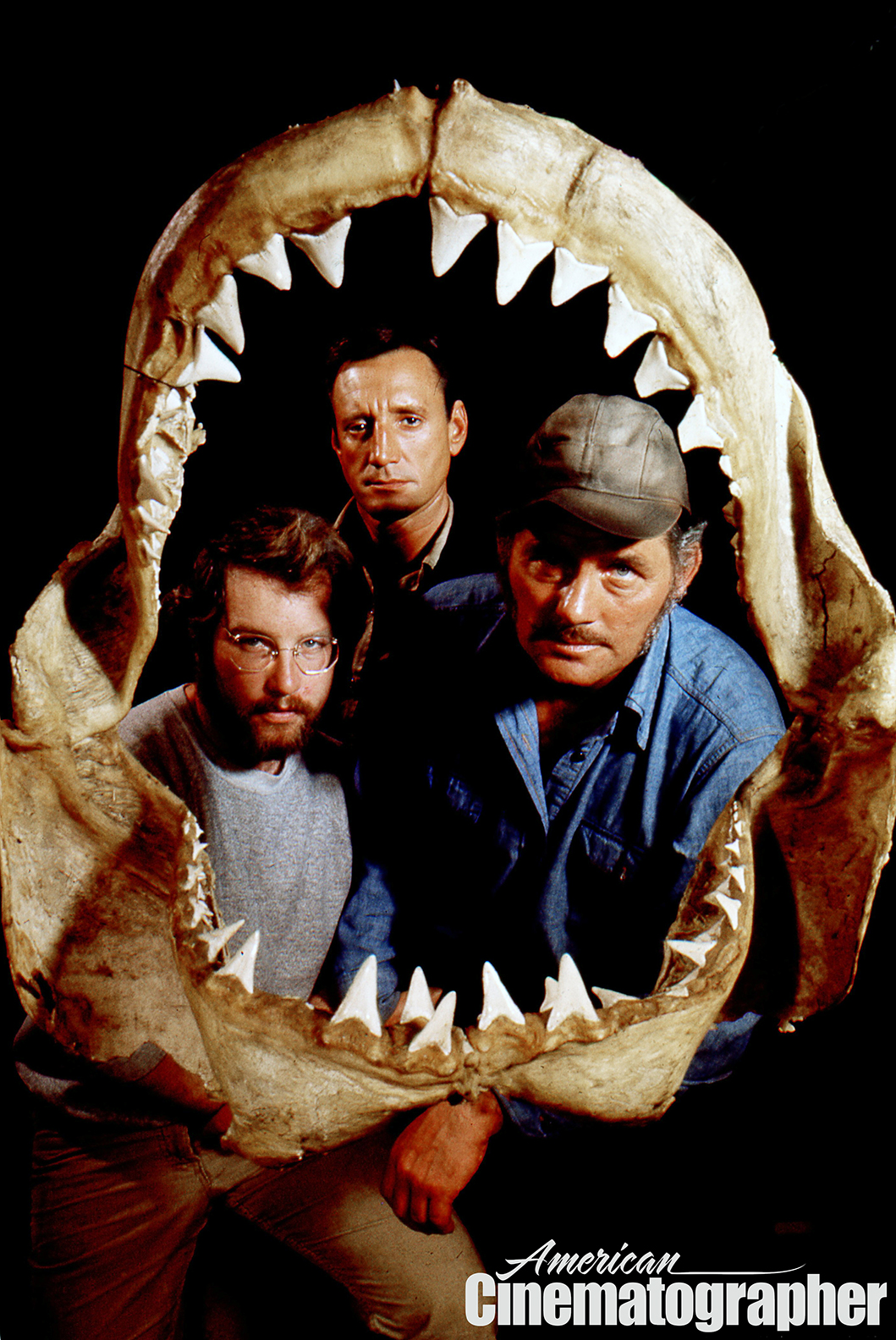 Richard Dreyfuss, Roy Scheider and Robert Shaw in a classic publicity image from Jaws (1975).
