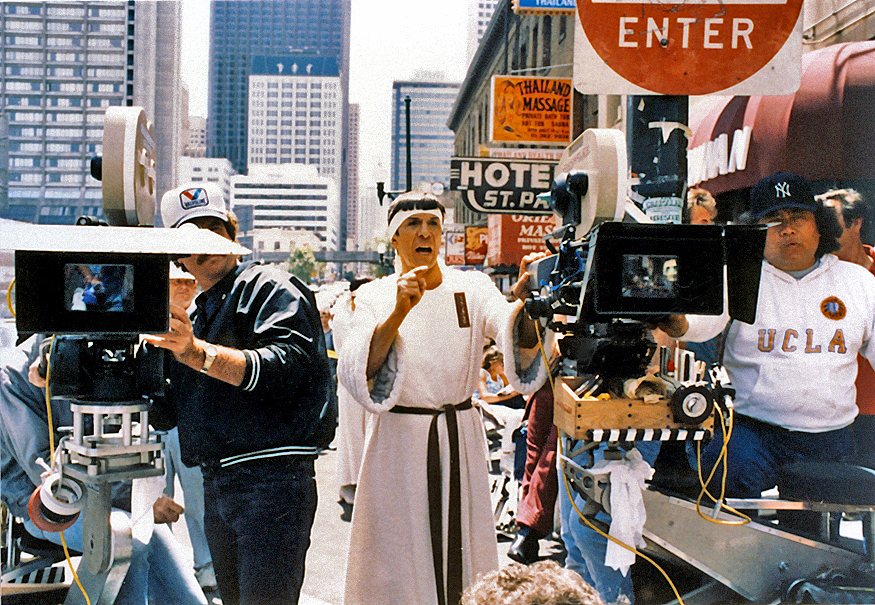 In costume, actor and director Leonard Nimoy and his crew on location in San Francisco for Star Trek IV: The Voyage Home.