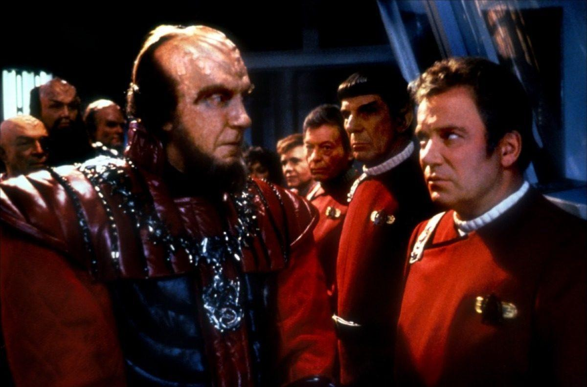 Kirk (William Shatner) faces off with his Klingon adversary, Chang (Christopher Plummer).