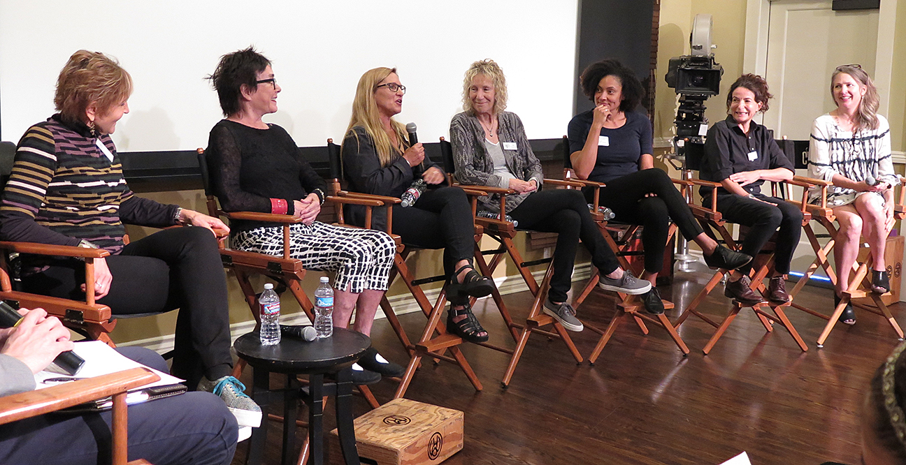 From left, Nancy Schreiber, ASC; Judy Irola, ASC; Amy Vincent, ASC; Joan Churchill, ASC; cinematographer Kira Kelly; Tami Reiker, ASC and Cynthia Pusheck, ASC