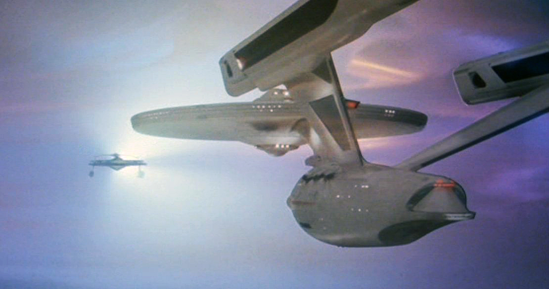 The Enterprise and Reliant face off in the Mutara Nebula in the film's dramatic battle sequence.