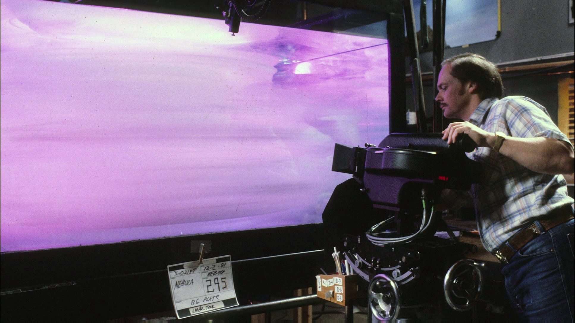 At ILM shooting VistaVision plates for the Mutara Nebula sequence using a cloud tank.