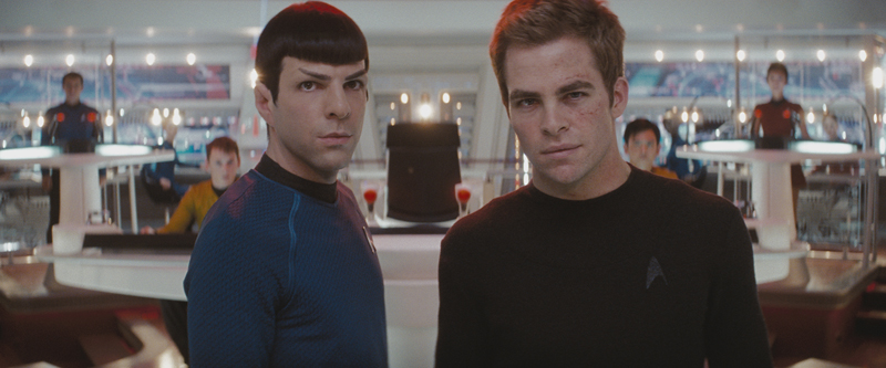 Spock (Zachary Quinto, left) and James T. Kirk (Chris Pine) face the first of their adventures together in Star Trek.