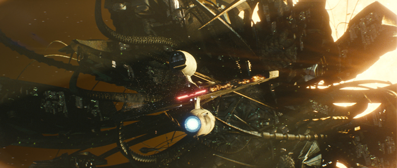 Nero's ship, the Narada, squares off against the USS Kelvin in the film's opening sequence.