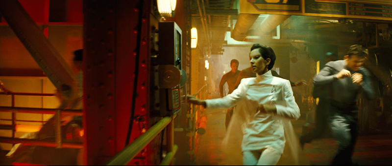 The look was carried through scenes set in the starship's lower decks, shot on location in a power plant in Long Beach, Calif.