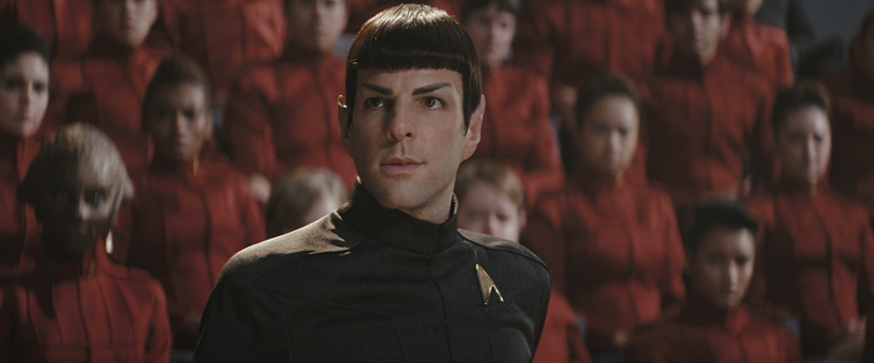 Spock addresses an assembly of cadets at Starfleet Academy.