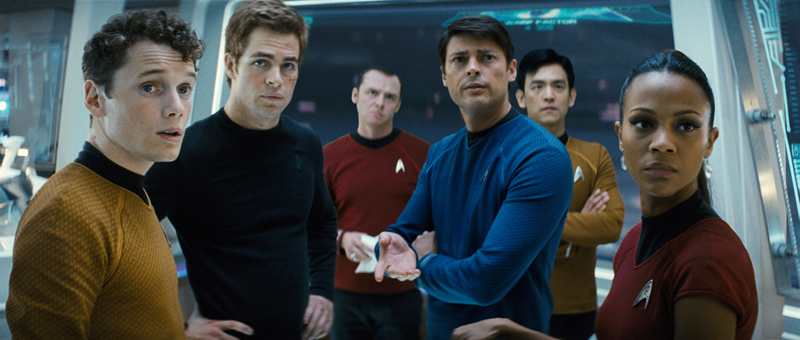 From left: Chekov (Anton Yelchin), Kirk, Scotty (Simon Pegg), Bones (Karl Urban), Sulu and Uhura (Zoe Saldana) boldly go where no one has gone before.