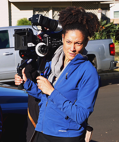 Cinematographer Kira Kelly on set for the upcoming feature Skin in the Game.
