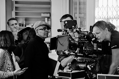 Cinematographer Oona Menges (far right) lines up a shot for the series Different for Girls while director Campbell X (wearing hat and glasses) looks on.
