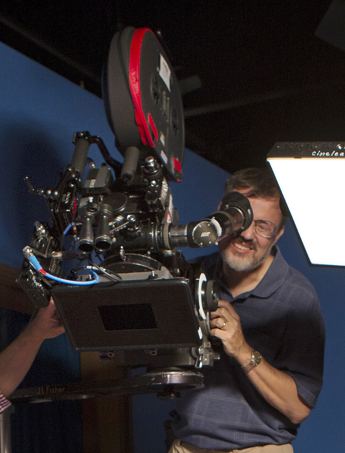 M. David Mullen, ASC composes a shot while filming The Love Witch (2016).