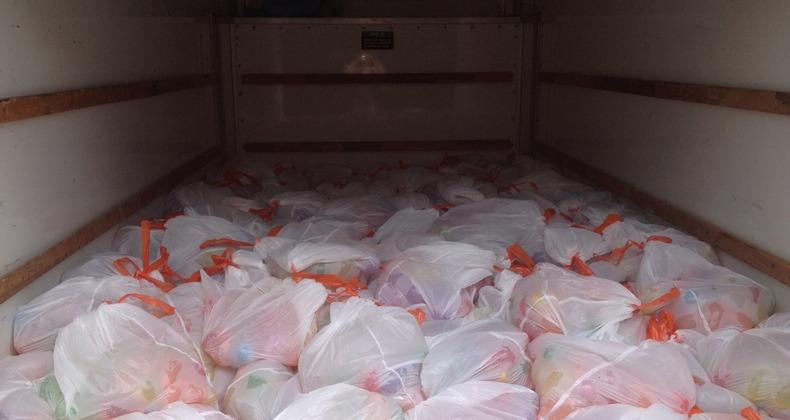 Water balloons in a U-haul van