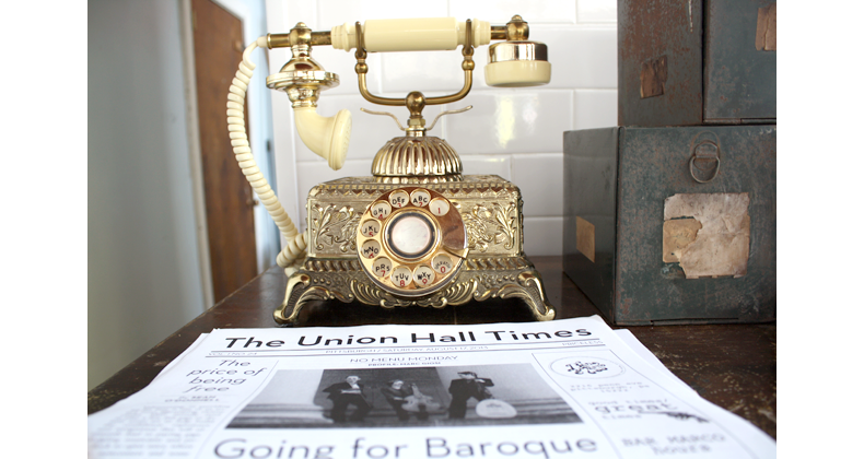 Bar Marco publication The Union Hall Times with antique telephone