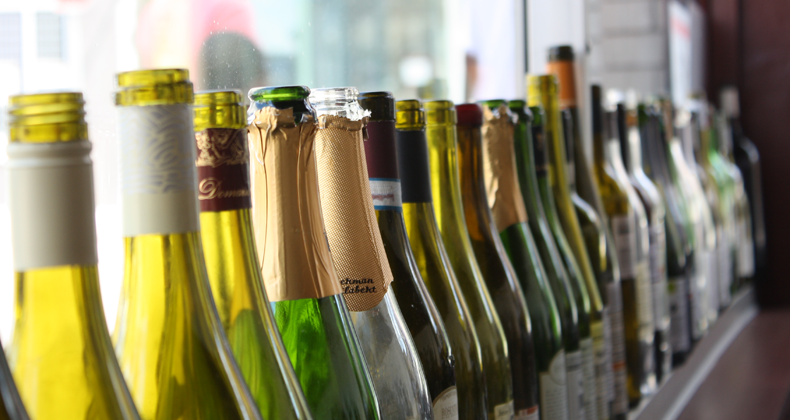 The Livermore East Liberty wine bottles as décor