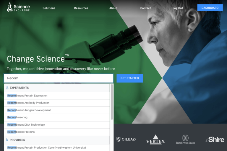 how to search for services on Science Exchange