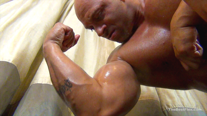 Oiled up flexing