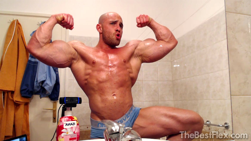Oiled Up Bathroom Flexing
