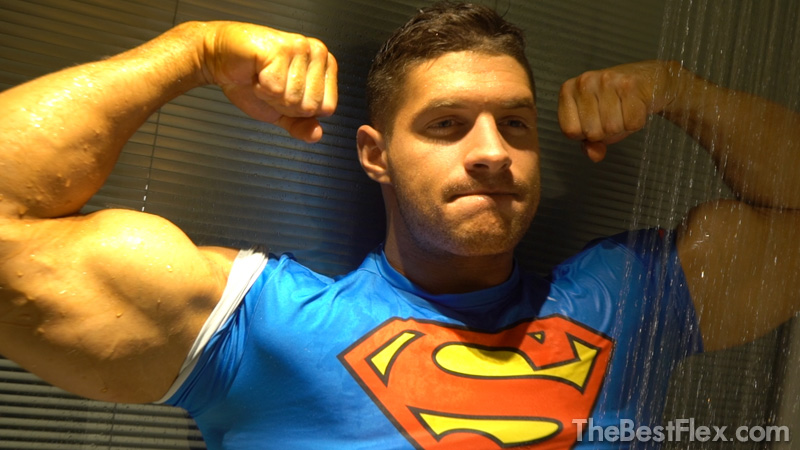 Superman Flexing In The Shower