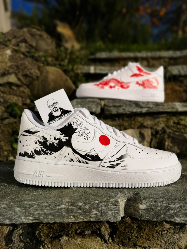 Custom sneakers Nike Air Force 1 'Red dragon х The Great Wave off Kanagawa' | THE CUSTOM MOVEMENT