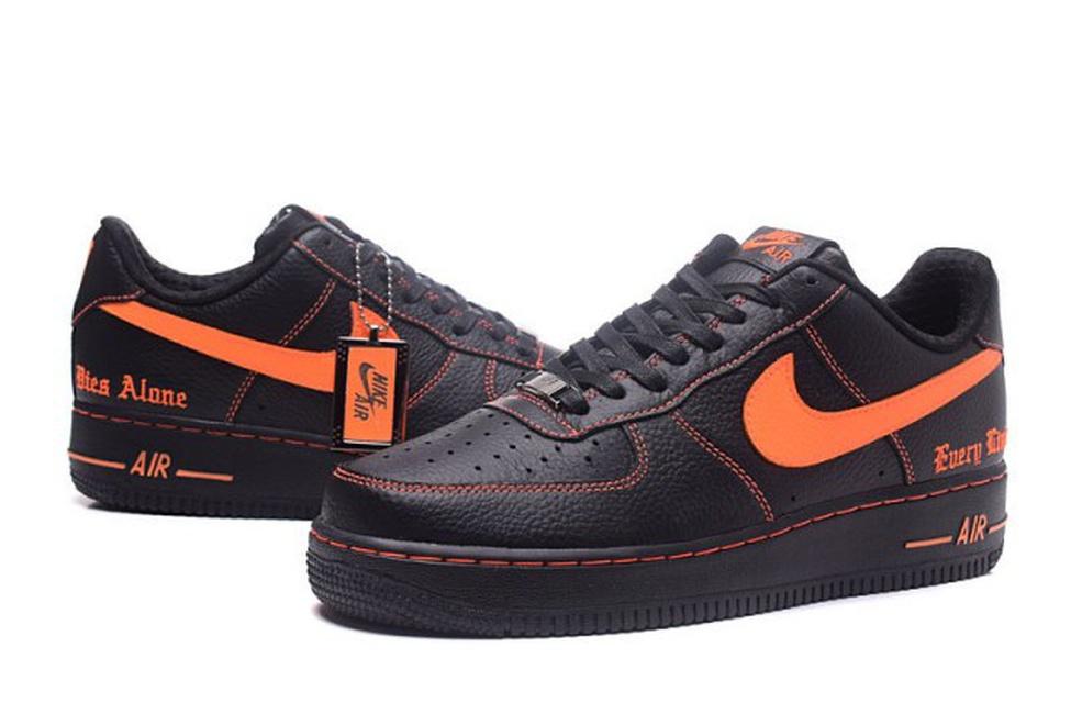 Advanced Vlone x NikeLab Air Force 1 Black Orange Men's Casual Shoes Sneakers