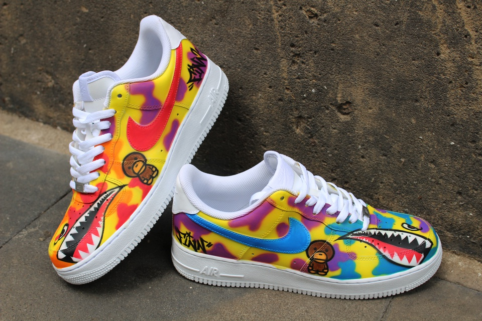 Nike Air Force 1 Mid GALAXY Style Airbrush painted shoes
