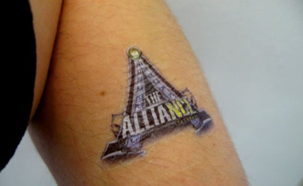 rub-on tattoos promoting ATL's the Alliance and their single with Fabo,