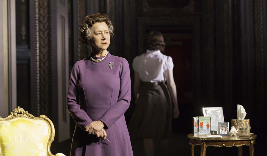 The Queen (Helen Mirren) and young Elizabeth (Nell Williams) in The Audience. Photo by Johan Persson.