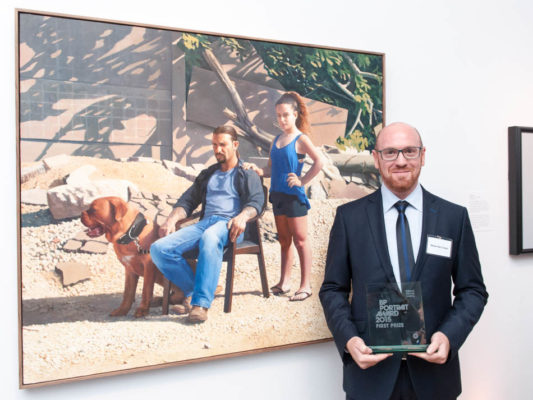 Matan Ben Cnaan, First Prize Winner of the BP Portrait Award 2015 with his painting Annabelle and Guy © Matan Ben Cnaan. Photograph © Jorge Herrera