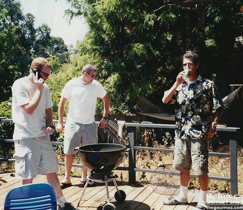 A group of my friends barbecuing on my deck, oh, 15 years ago in Santa Cruz.