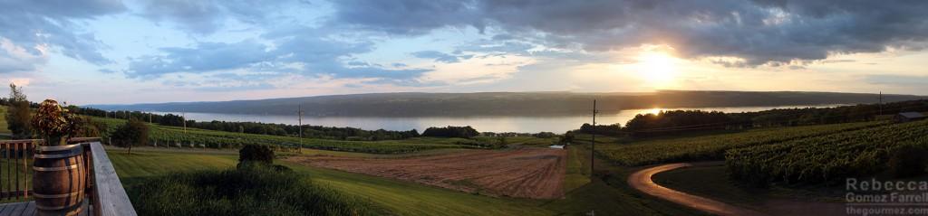 Sunset over Seneca Lake from Chateau Lafayette Reneau at WBC15.