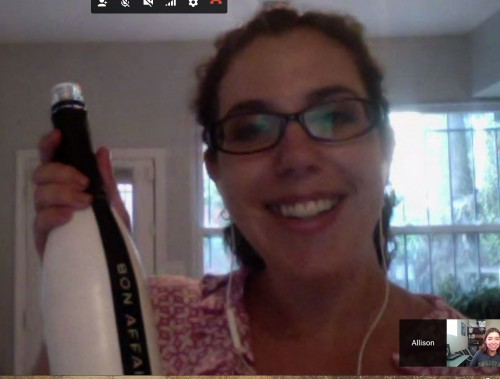 Virtual Alleigh with her non-virtual sample bottle.
