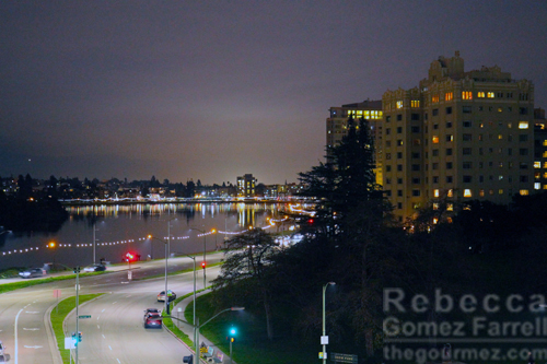 Lake Merritt night view from Port Workspaces