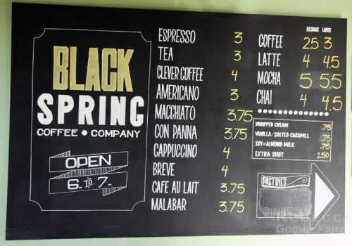 Black Spring Coffee Menu