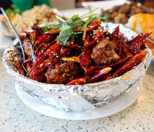 Golden garlic hot chili wings